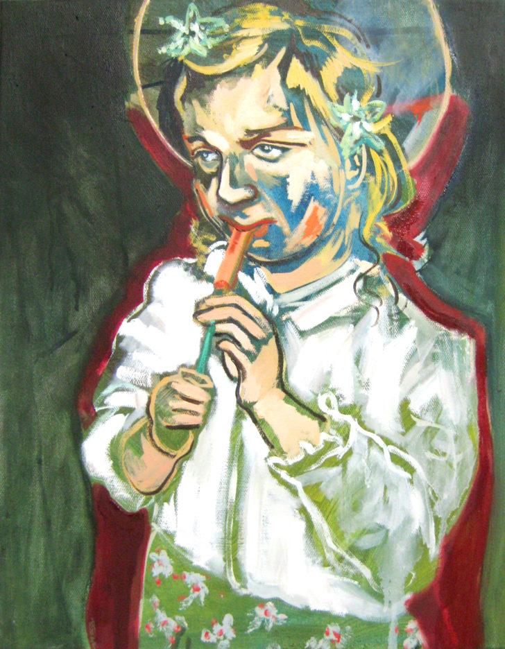 Viktoria Graf, Der Pfeiffenzünder, 70x50 cm, 2012, Öl auf Leinwand