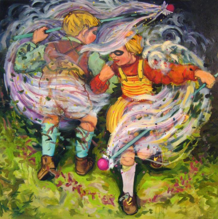 Viktoria Graf, Geisterstunde, 100x100 cm, 2013, Öl auf Leinwand