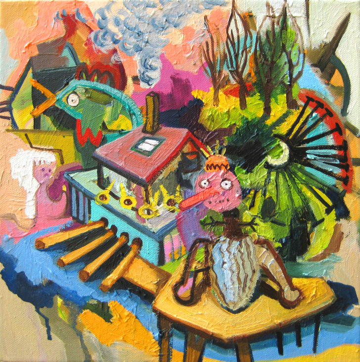 Viktoria Graf, Funny Games, 30x30 cm, 2015, Öl auf Leinwand