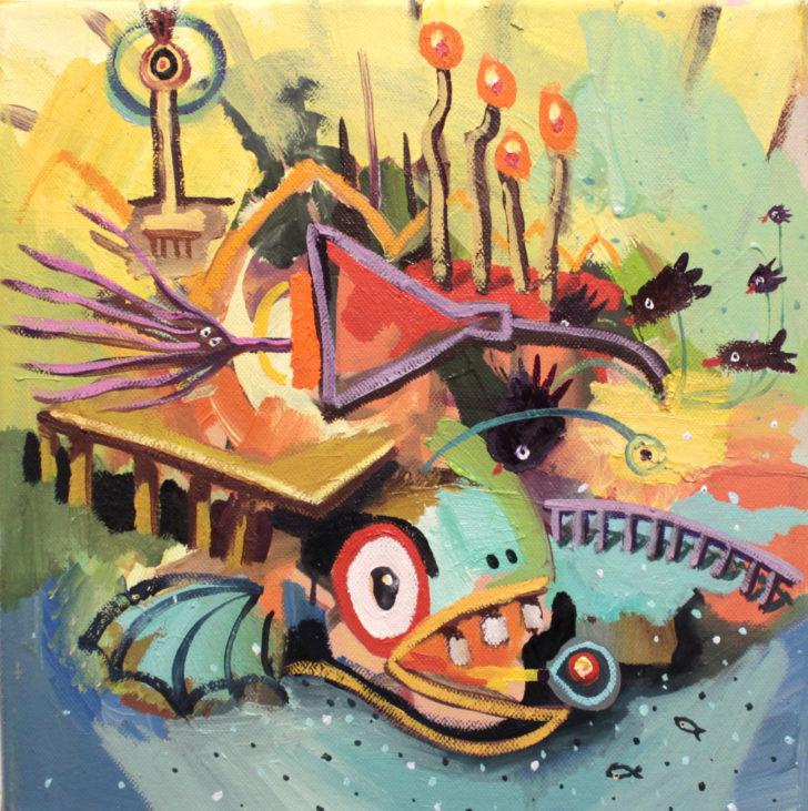 Viktoria Graf, Funny Games, 30x30 cm, 2016, Öl auf Leinwand