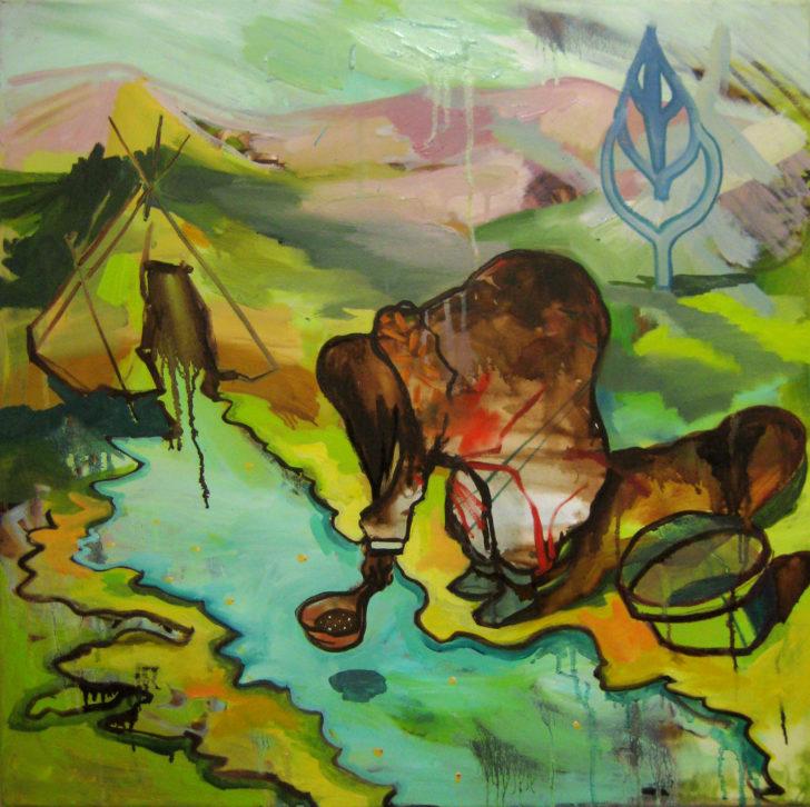 Viktoria Graf, Suche, 70x70 cm, 2017, Öl auf Leinwand