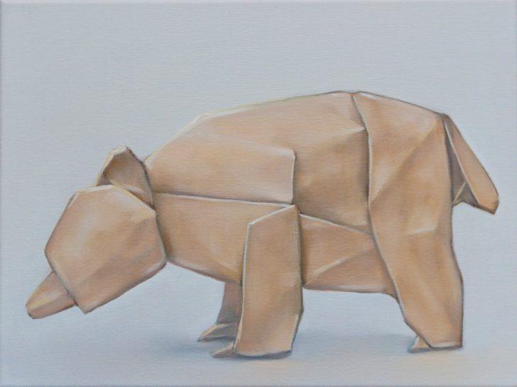 Sebastian Herzau, Bär I, 30x40 cm, 2016, Öl auf Leinwand