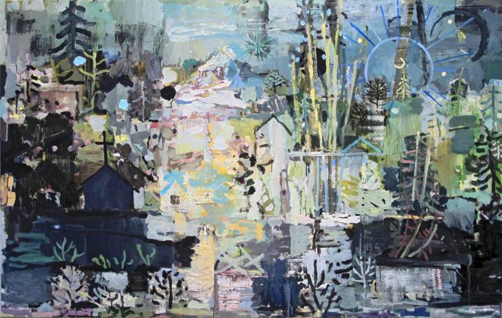 Lutz Bleidorn, Nacht unter dem Gebirge, 120x190 cm, 2014, Öl auf Leinwand