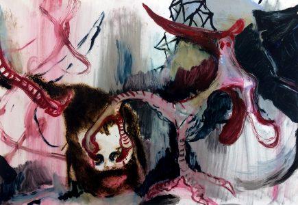Rao Fu, Coxcomb, 44x63 cm, 2017, Öl auf Papier