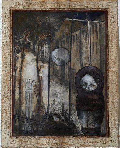 Katharina Meister, Die Beobachtete, 31,5x24,5 cm, 2010, Mischtechnik auf Papier