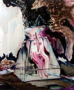 Rao Fu, Exponate 03, 50x40 cm, 2017, Öl auf Papier auf Leinwand