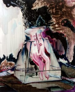 Rao Fu, Exponate 03, 50x40 cm, 2017, Oel auf Papier auf Leinwand