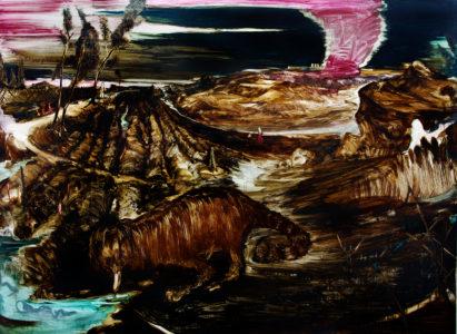 Rao Fu, Kiautschou, 135 x 175 cm, 2017, Bitumen und Oel auf Papier auf Leinwand