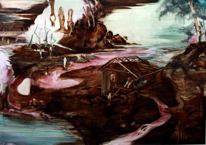 Rao Fu, Prießnitz, 135x175 cm, 2017, Bitumen und Öl auf Papier auf Leinwand