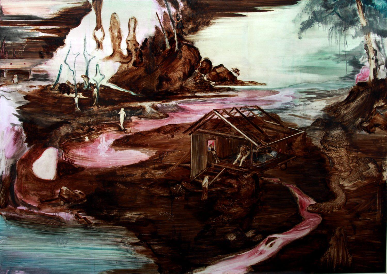Rao Fu, Prießnitz, 135x175 cm, 2017, Bitumen und Oel auf Papier auf Leinwand