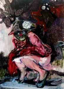 Rao Fu, Rosa #2, 70x50 cm, 2017, Öl auf Papier