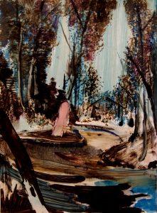 Rao Fu, Spreewald, 28x21 cm, 2017, Öl auf Papier