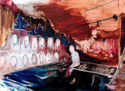 Rao Fu, Waschsalon, 70x100 cm, 2016, Öl auf Papier