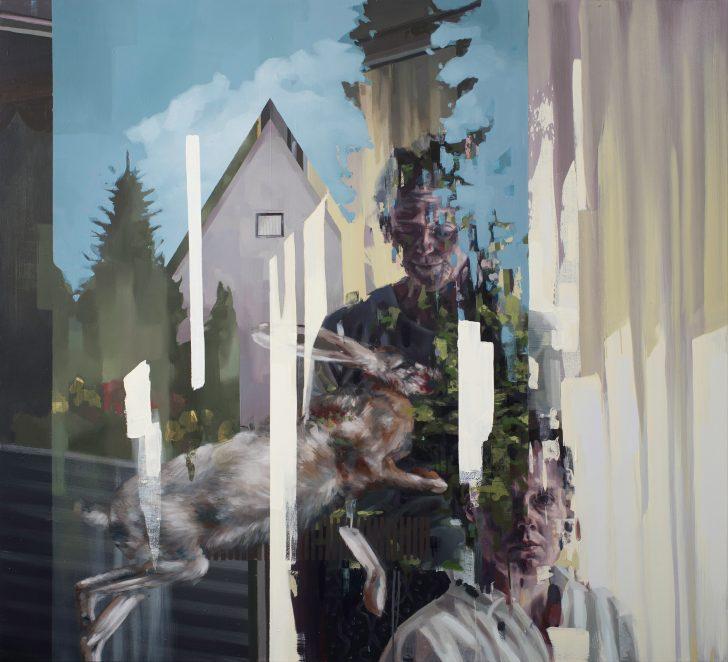 Franz Ehrenberg, Besuch, 160x145cm, 2017, Öl auf Leinwand