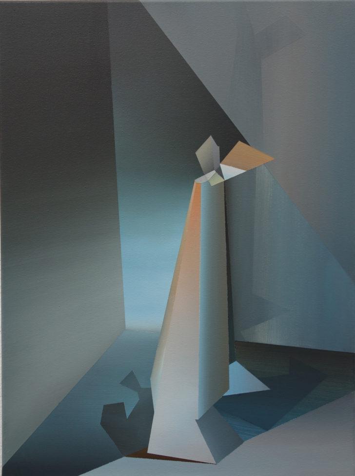 Marten Kirbach, Figur im Raum, 90x120 cm, 2016, Acryl auf Leinwand