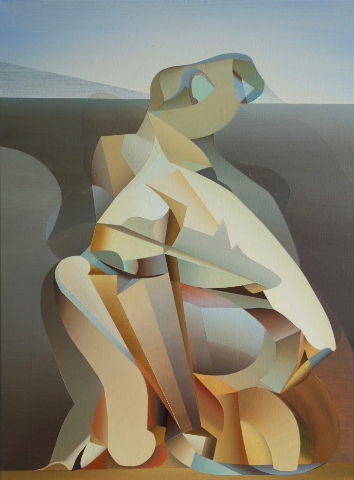 Marten Kirbach, Figur am Feld, 80x60 cm, 2017, Acryl auf Leinwand