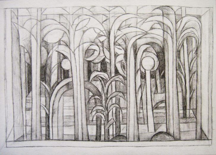 Marten Kirbach, Pflanzung im Raum II, 17x24 cm, 2011, Graphit auf Papier