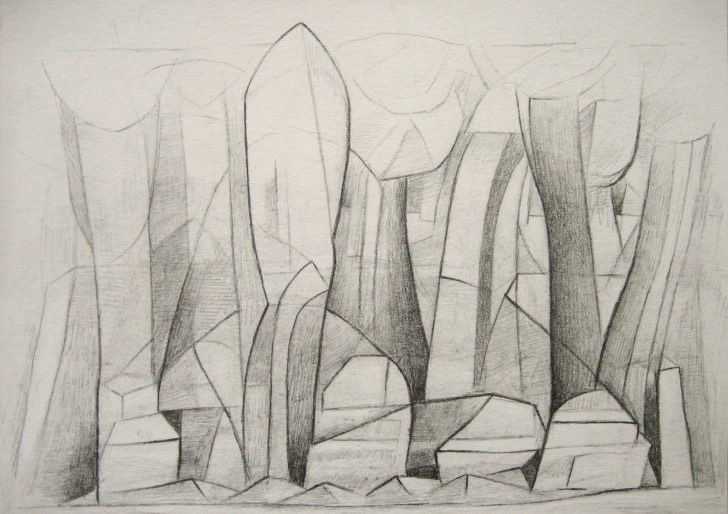 Marten Kirbach, Waldstück, 17x24 cm, 2013, Graphit auf Papier
