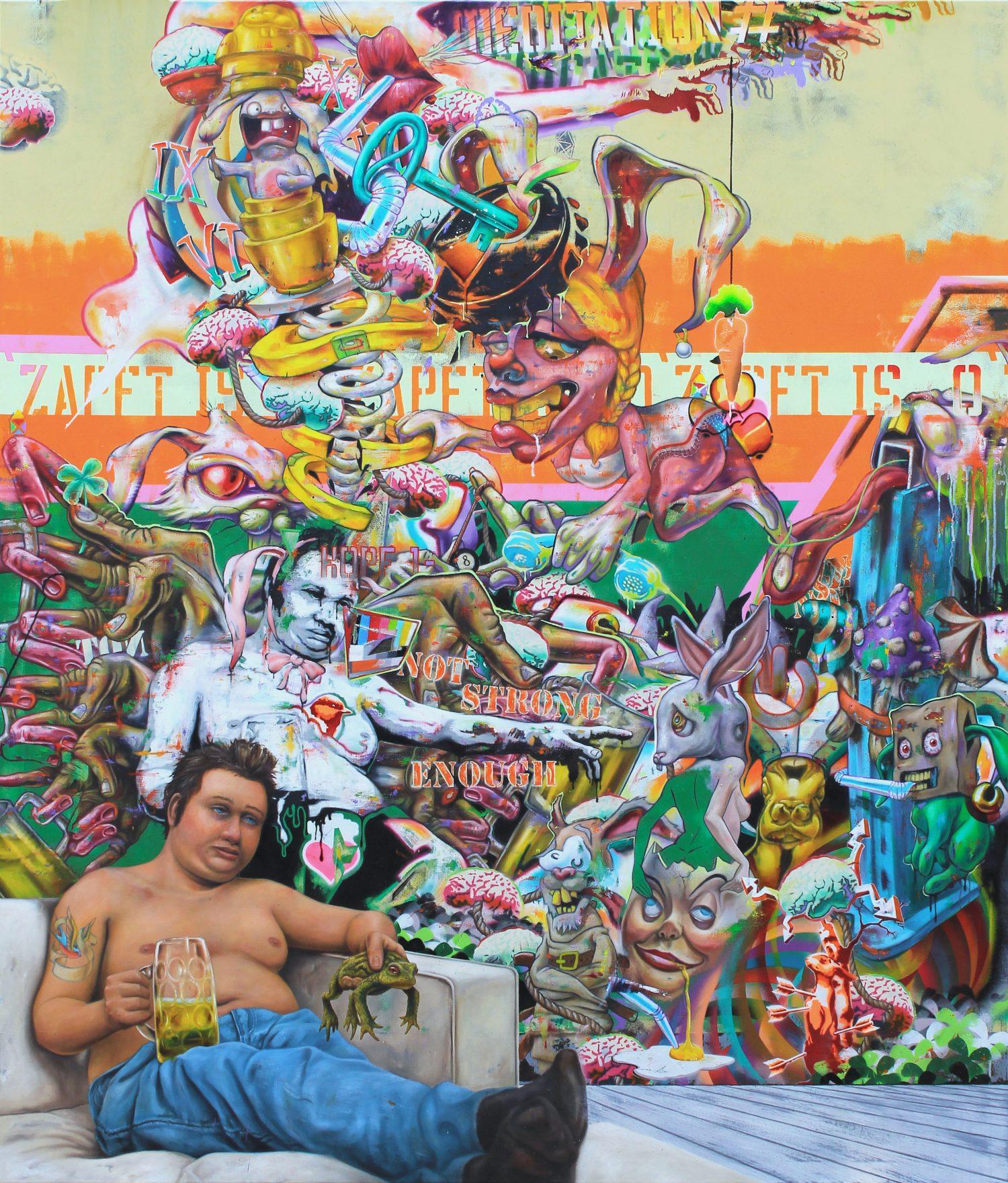 Robert Matthes, not strong enough, 200x170 cm, 2017, Acryl, Öl und Lack auf Nessel