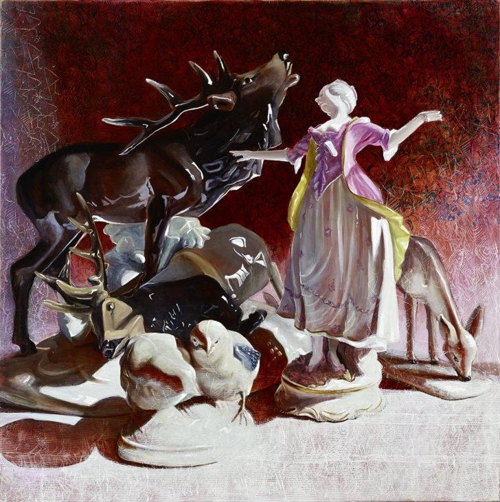 Mathias Perlet, Konspiratives Treffen, 150x150 cm, 2017, Öl auf Leinwand