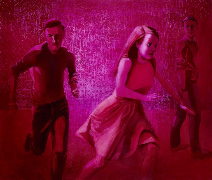 Mathias Perlet, red fog, 120x140 cm, 2017, Öl auf Leinwand