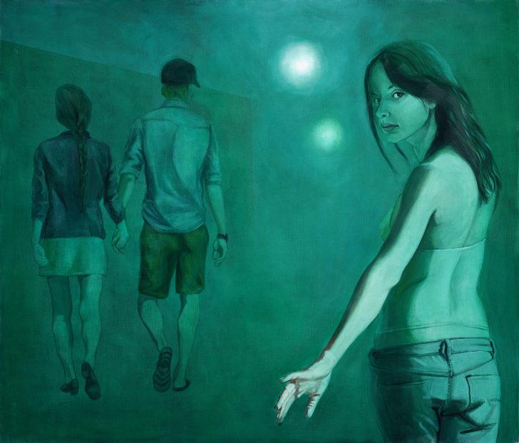 Mathias Perlet, green fog, 120x140 cm, 2017, Öl auf Leinwand