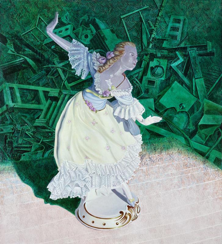 Mathias Perlet, Tänzerin im Sturm I, 200x180 cm, 2017, Öl auf Leinwand
