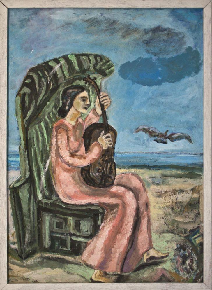 Ingrid Goltzsche Schwarz, Frau mit Gitarre am Meer, Öl auf Hartfaser, gerahmt, um 1970