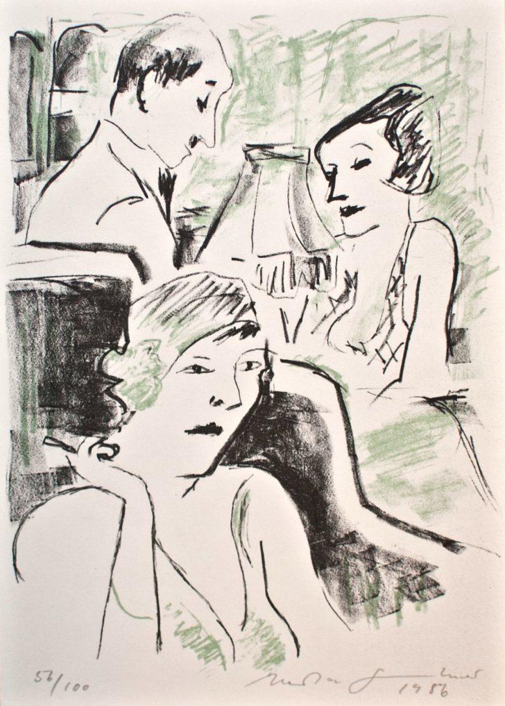 Herta Günther, In der Bar, Lithographie, 1986, 56/100