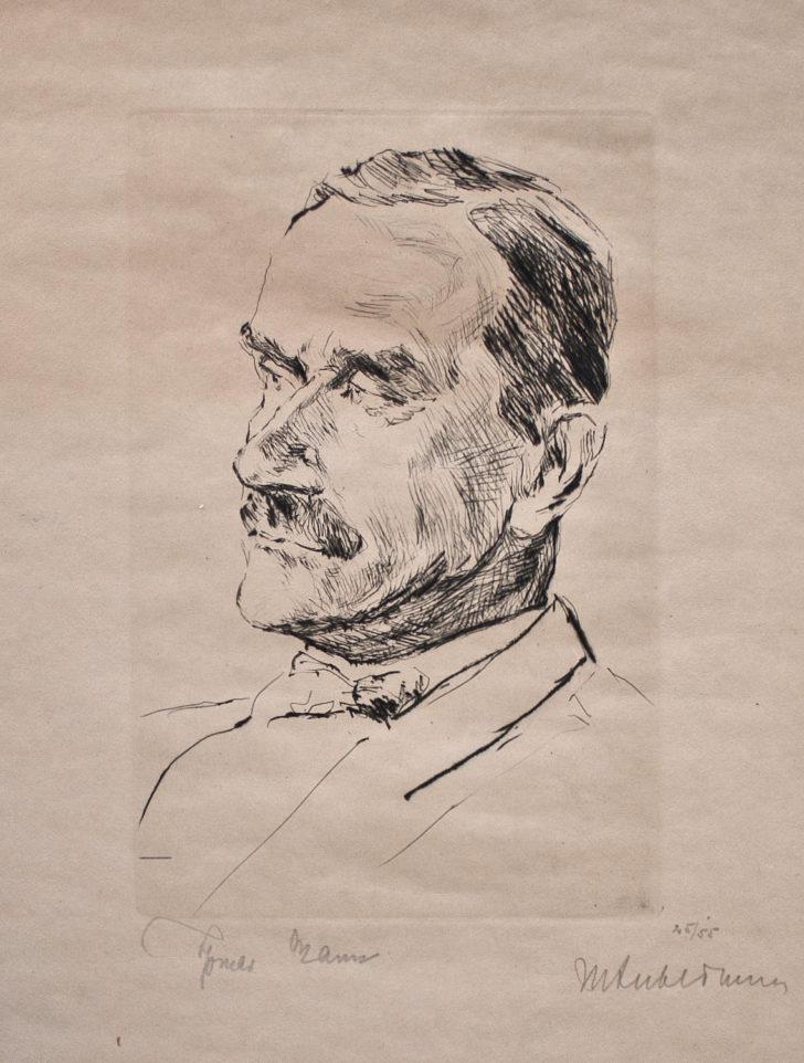 Max Liebermann, Thomas Mann, Radierung, o. J., 45/55