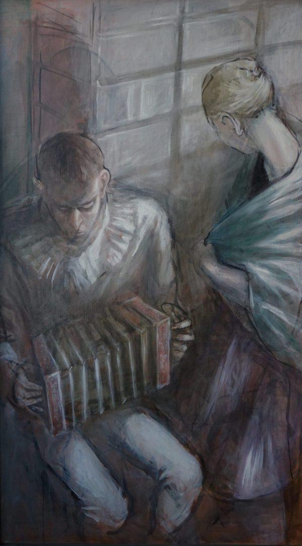 Andreas Wachter, Musikanten, 139,5x79,5 cm,1990, Öl auf Hartfaser