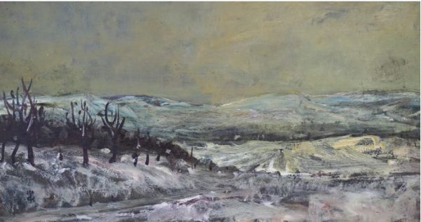 Karl Krug, Blick zur Unstrut, 21,8x39,6 cm, Öl auf Hartfaser