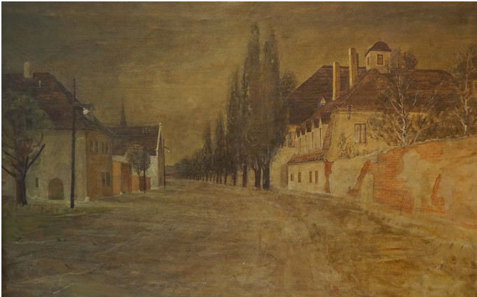 Karl Krug, Dorfstraße in Schönau, 65,5x100 cm, Öl auf Leinwand