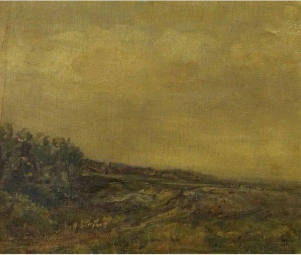 Karl Krug, Landschaft I, 29,5x34,5 cm, Öl auf Hartfaser