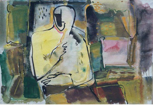 Bernhard Heisig, Im Atelier, 37x54,4 cm, Aquarell auf Papier