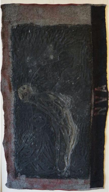 Michael Morgner, o. T., 155x185 cm, Mischtechnik auf NVA-Decke auf Holz