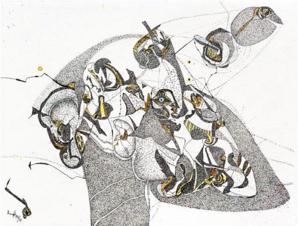 Thomas Ranft, hören und sehen, 16,9x21,8 cm, 1988/2017, Radierung auf Bütten
