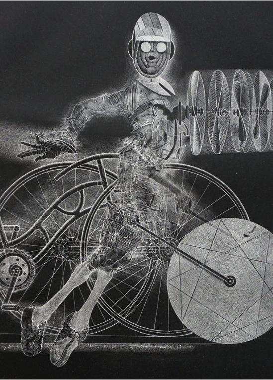 Rolf Münzner, Der Erfinder, 34,5x24 cm, 2012, Schablithografie auf Bütten