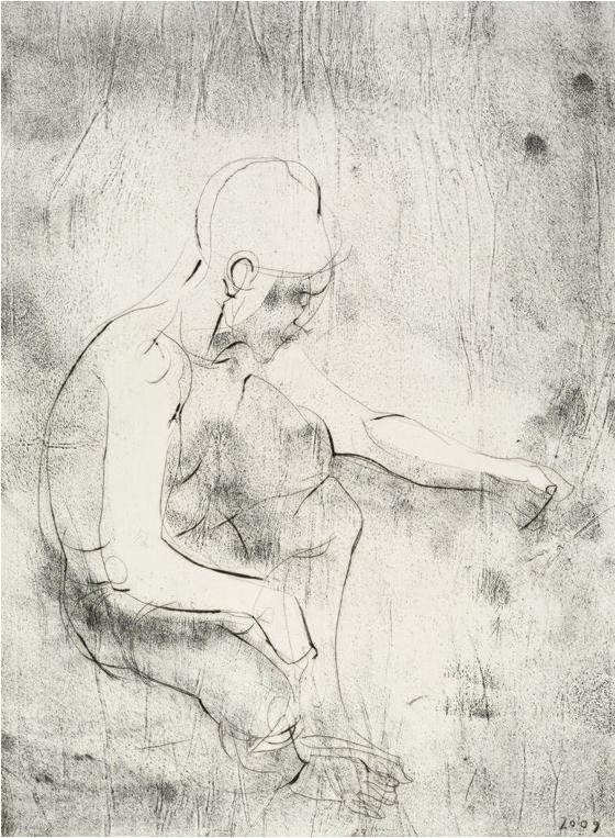 Reinhard Minkewitz, Verzweigte Zeit, 40,2x29,8 cm, 2009, Radierung