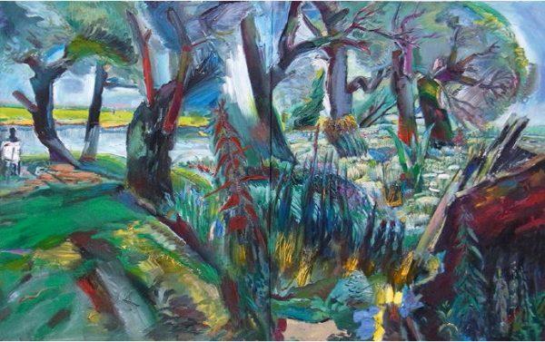 Sighard Gille, Baumufer, 110x180 cm, 2012, Eitempera, Öl auf Leinwand