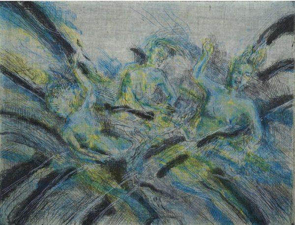 Ulrich Hachulla, Die Rheintöchter 16/30, 22,5x30 cm, 2013/2014, farbradierung