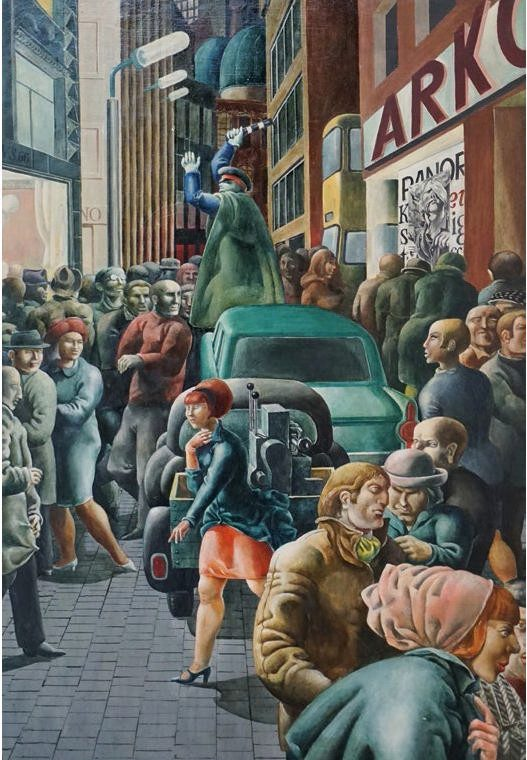 Volker Stelzmann, Großstadtstraße, 75x51 cm, 1966, Öl auf MdF