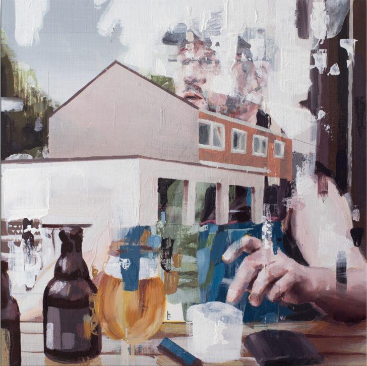 Franz Ehrenberg, Feierabend III, 30x30x6cm, 2017, Öl auf Holz