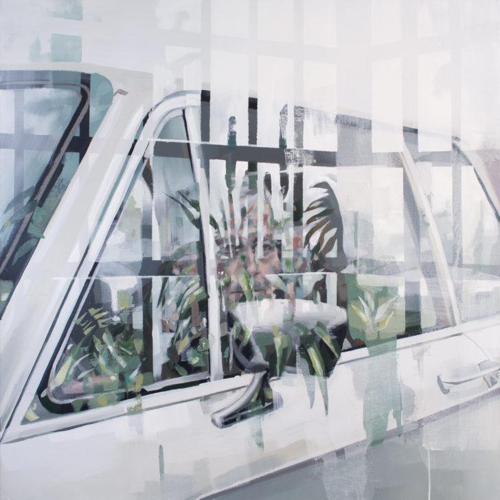 Franz Ehrenberg, Glashaus, 94x94 cm, 2018, Öl auf Leinwand