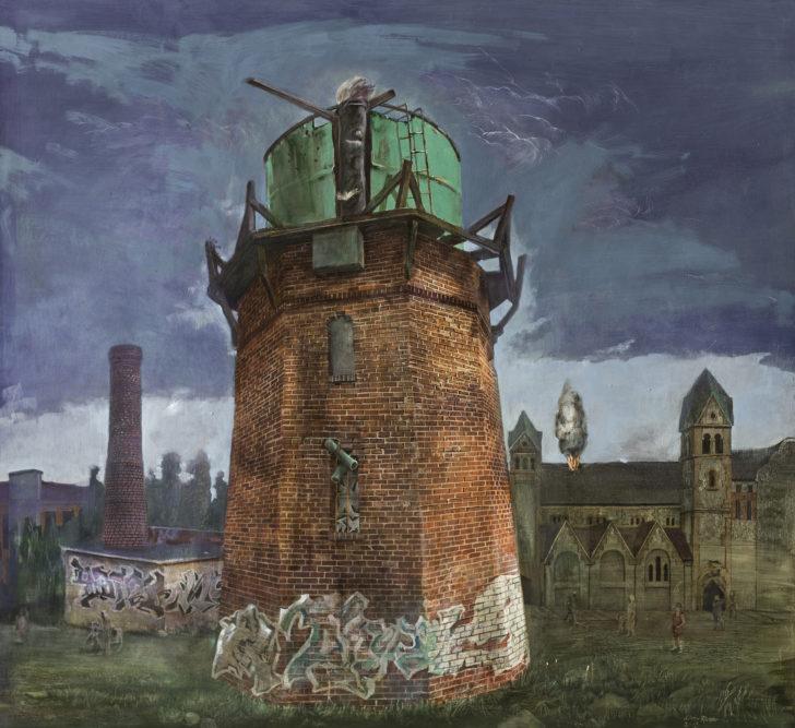 Günter Richter, Das Feuer, 100x110 cm, 2013, Öl auf Hartfaser