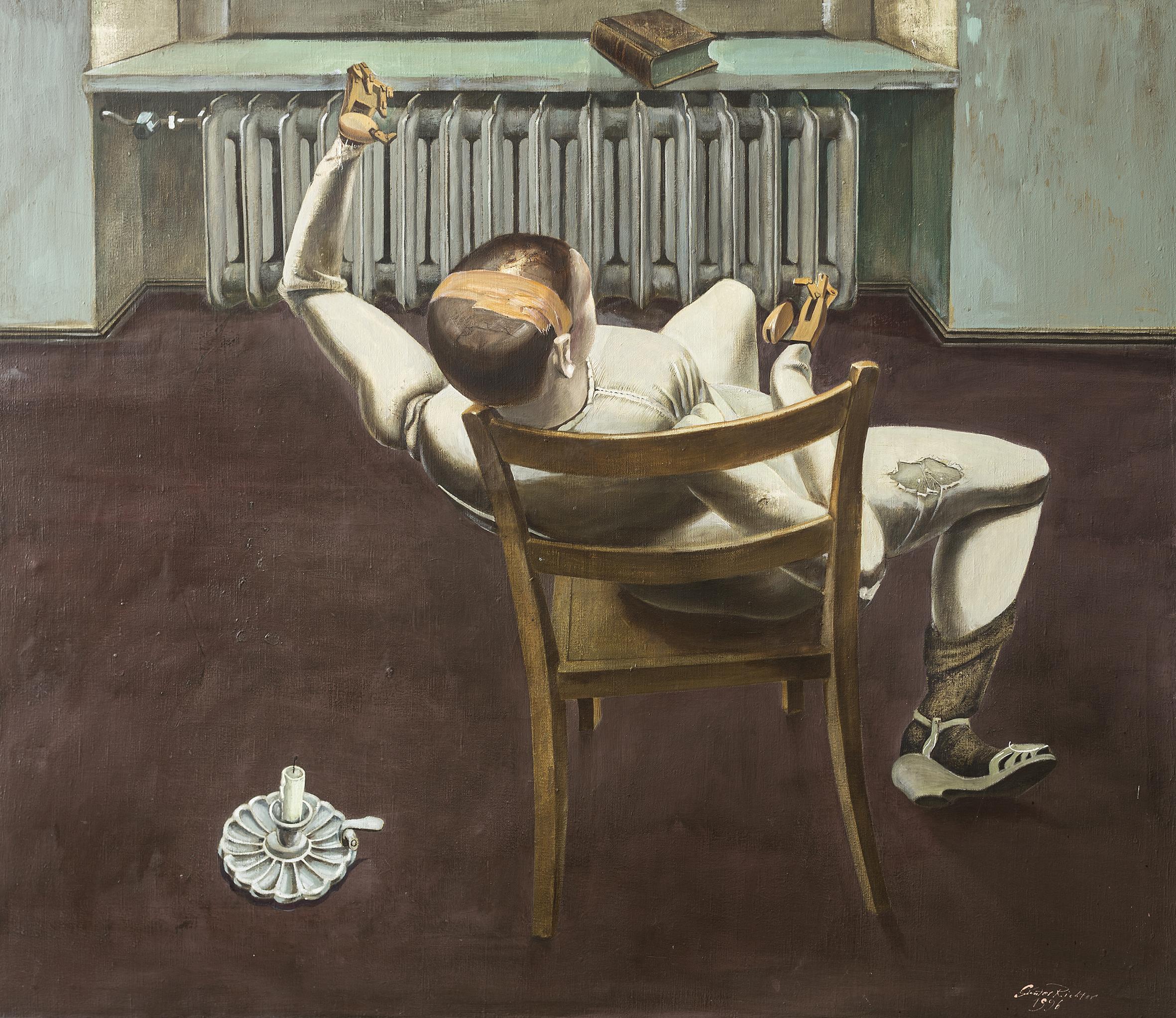 Günter Richter, Modellpuppe mit Kellerlicht, 120x140 cm, 1996, Öl auf Leinwand