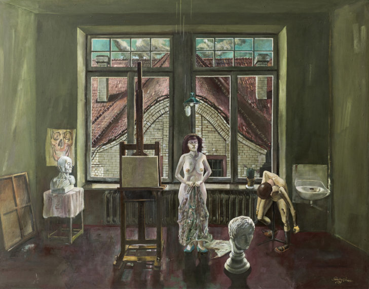 Günter Richter, Aktsaal der Abendakademie, 100x130 cm, 1999, Öl auf Leinwand