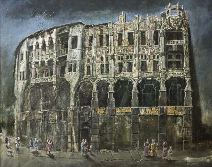 Günter Richter, Fassaden mit Passanten, 110x140 cm, 1999, Öl auf Leinwand