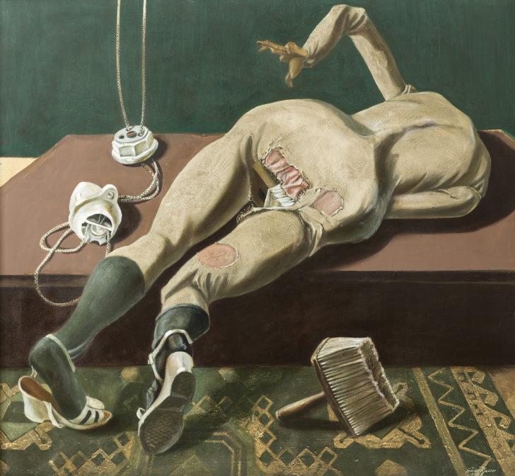 Günter Richter, Modellpuppe mit Lampenteilen, 110x120 cm, 1998, Öl auf Leinwand