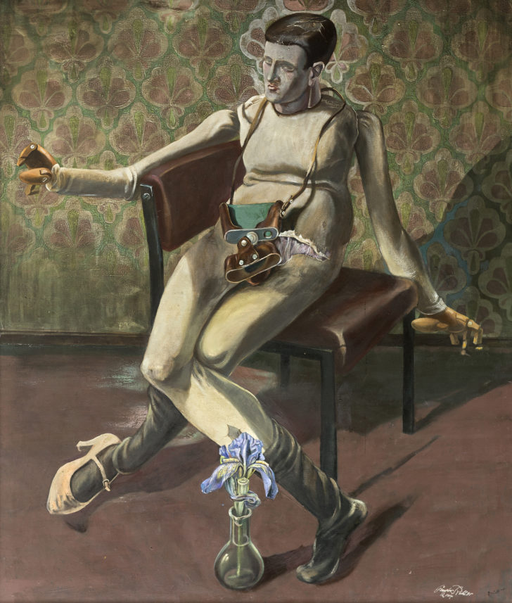 Günter Richter, Modellpuppe und Iris, 130x110 cm, o. J., Öl auf Leinwand